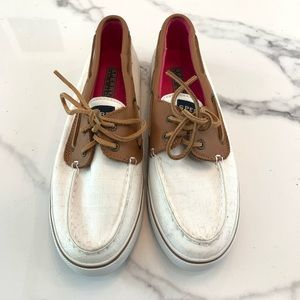 White and Brown Sperry Top-Siders